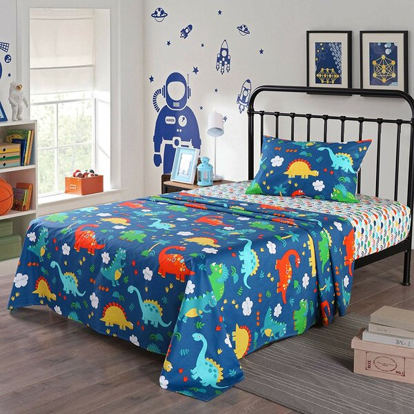 Bromyard Dinosuar 200 Thread Count 100% Cotton Sheet Set by Zoomie Kids